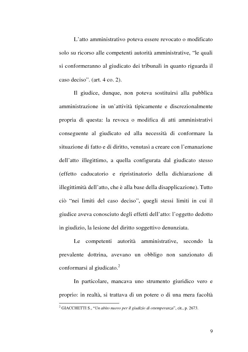 Anteprima della tesi: L'ottemperanza alle decisioni del giudice amministrativo dopo la legge n. 205 del 2000, Pagina 6
