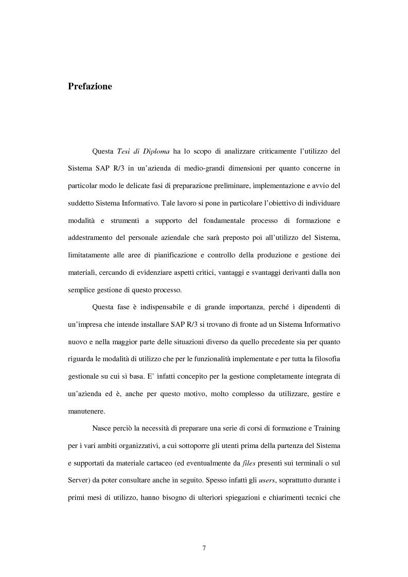 Anteprima della tesi: L'utilizzo del sistema informativo Sap R/3 per la programmazione e il controllo della produzione industriale: training e formazione del personale, Pagina 1