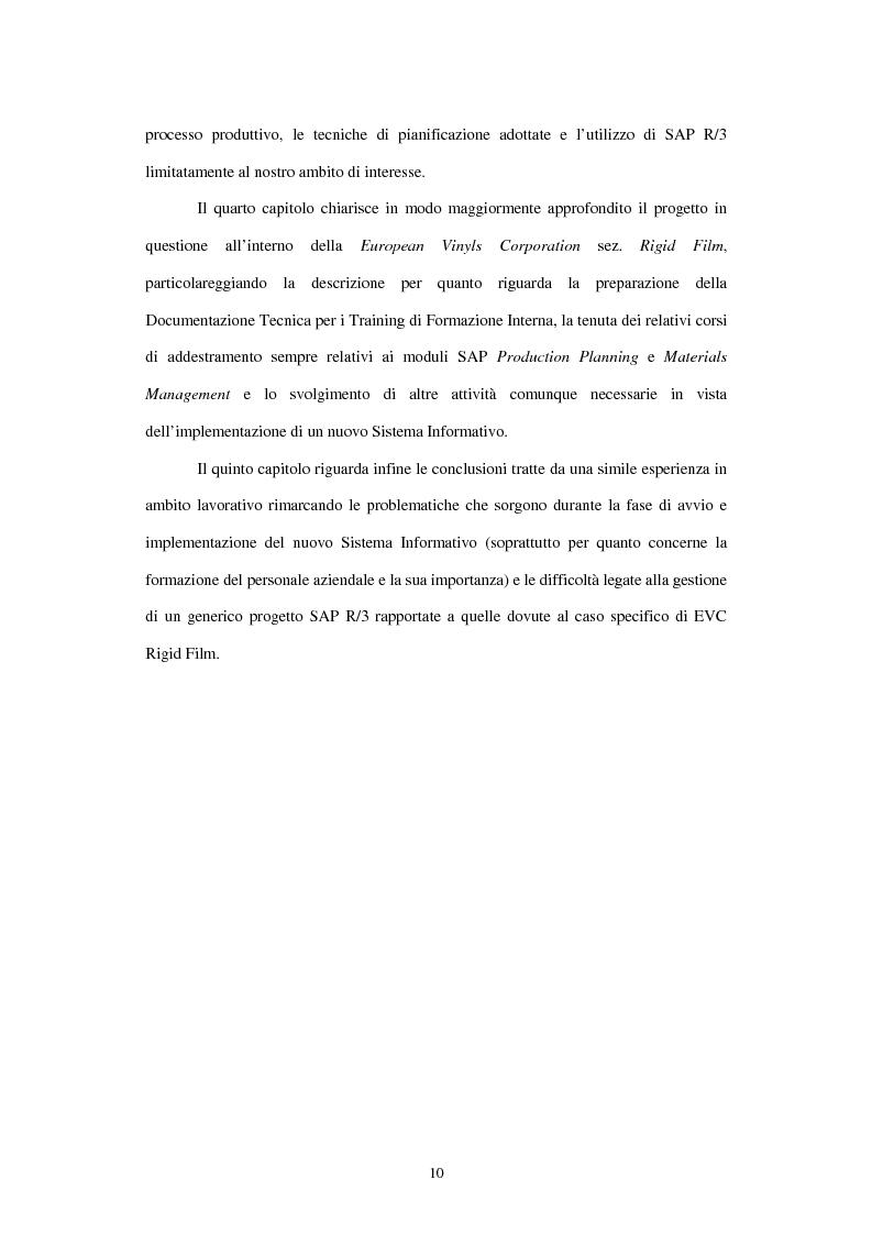 Anteprima della tesi: L'utilizzo del sistema informativo Sap R/3 per la programmazione e il controllo della produzione industriale: training e formazione del personale, Pagina 4