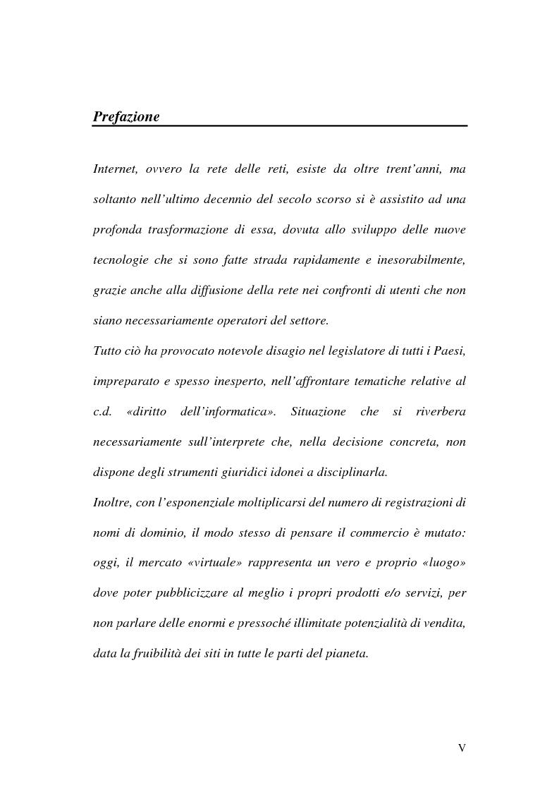 Anteprima della tesi: La tutela del nome di dominio, Pagina 1