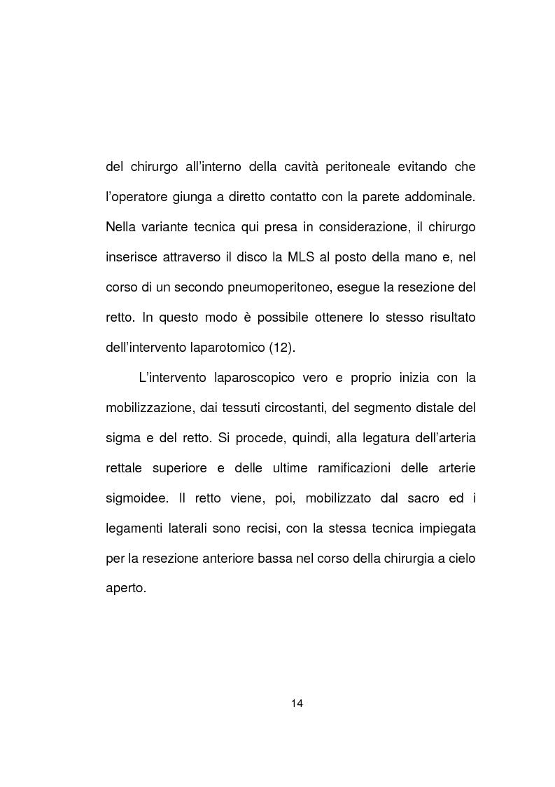 Anteprima della tesi: La chirurgia laparoscopica del cancro del retto, Pagina 12