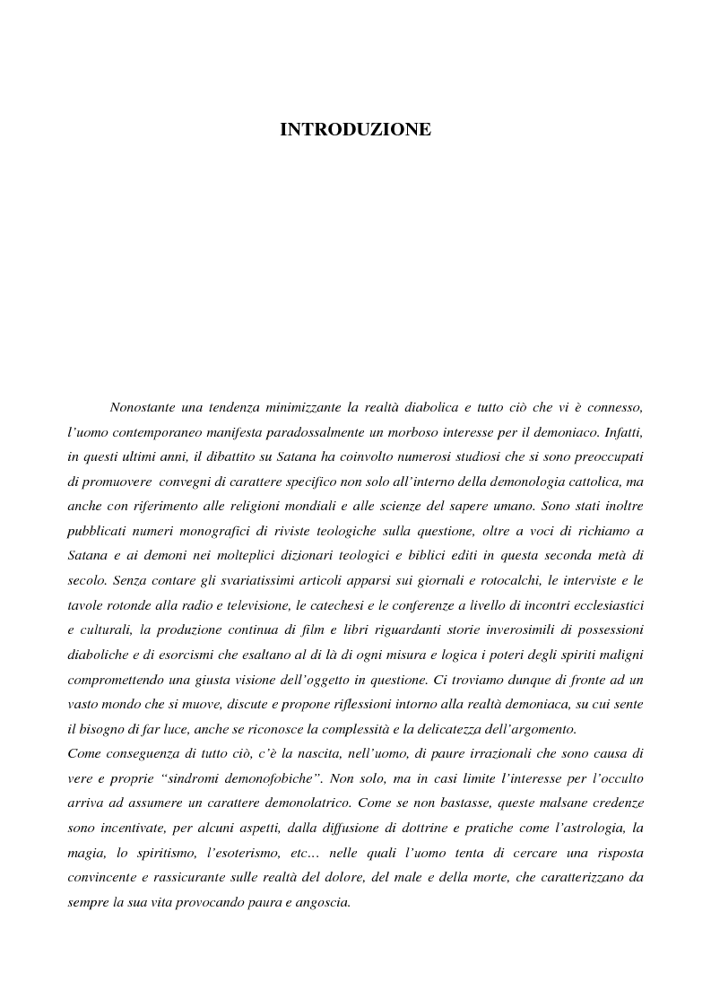 Anteprima della tesi: L'esorcismo. Confronto storico e interpretazione teologica dei rituali esorcistici per ossessi, Pagina 1