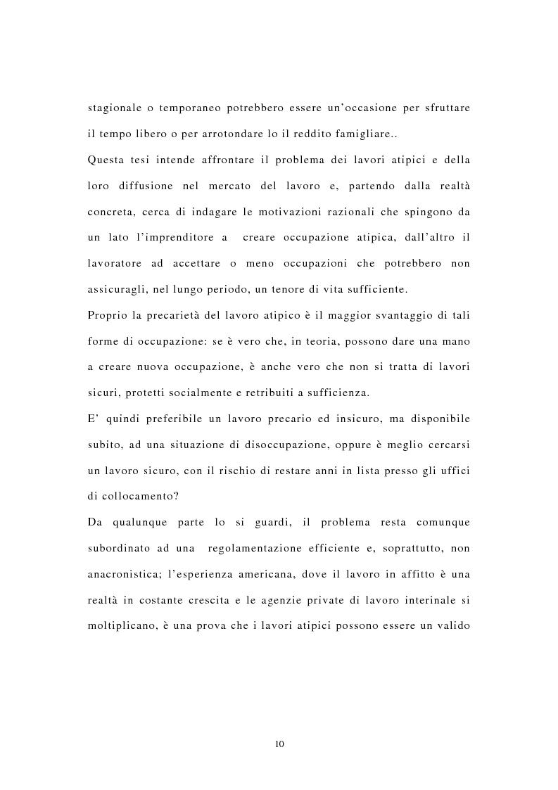 Anteprima della tesi: I contratti di lavoro atipici: conseguenze sulla domanda di lavoro, Pagina 3