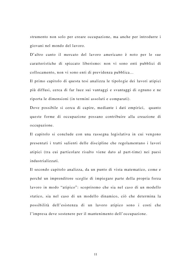 Anteprima della tesi: I contratti di lavoro atipici: conseguenze sulla domanda di lavoro, Pagina 4