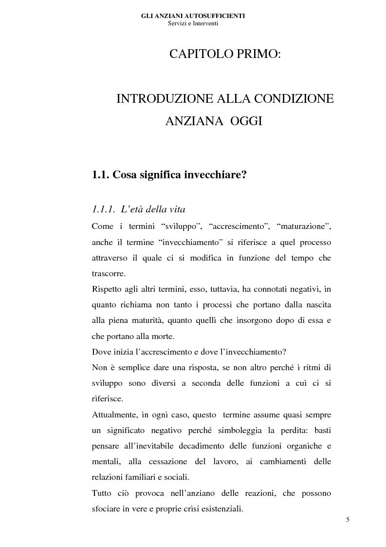 Anteprima della tesi: Gli anziani autosufficienti: servizi e interventi, Pagina 1