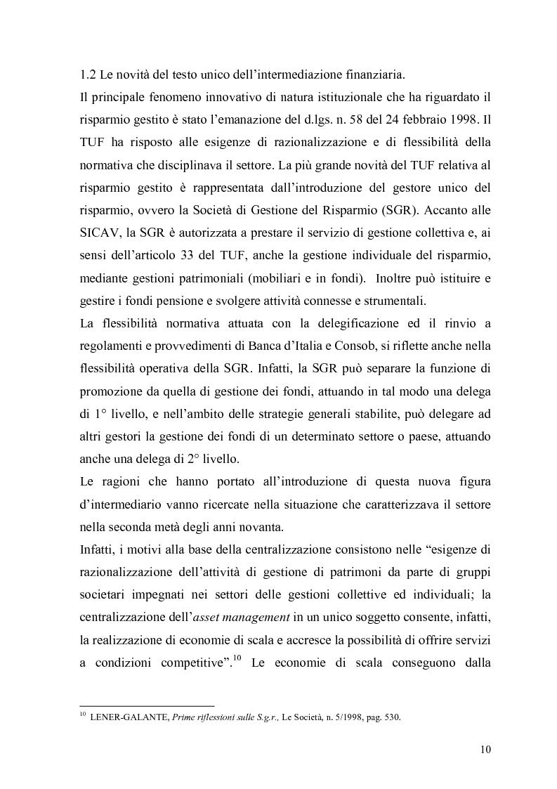 Anteprima della tesi: L'organizzazione e la gestione delle società di gestione del risparmio, Pagina 10