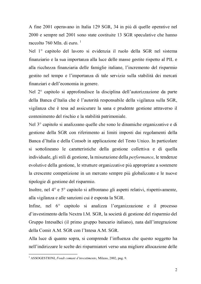 Anteprima della tesi: L'organizzazione e la gestione delle società di gestione del risparmio, Pagina 2