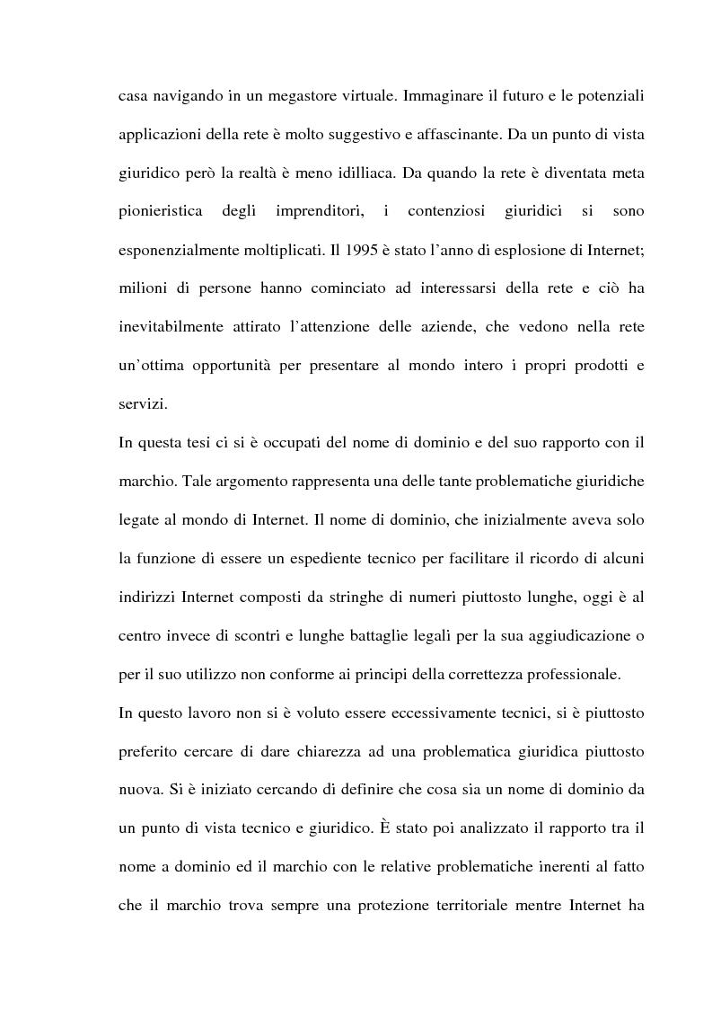 Anteprima della tesi: Domain name e la tutela del marchio, Pagina 2