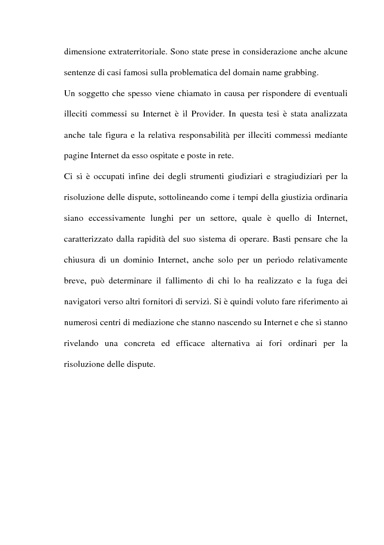 Anteprima della tesi: Domain name e la tutela del marchio, Pagina 3