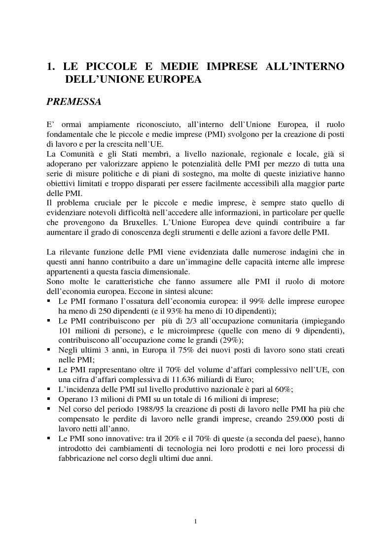 Anteprima della tesi: Le agevolazioni comunitarie alle piccole e medie imprese. Analisi dei risultati dell'applicazione della legge 488/92 in Italia e nel Veneto, Pagina 1