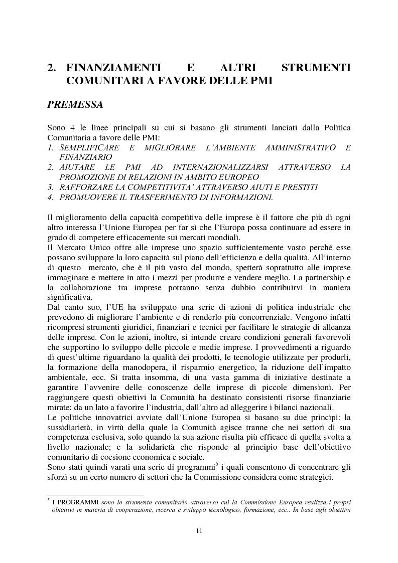 Anteprima della tesi: Le agevolazioni comunitarie alle piccole e medie imprese. Analisi dei risultati dell'applicazione della legge 488/92 in Italia e nel Veneto, Pagina 11