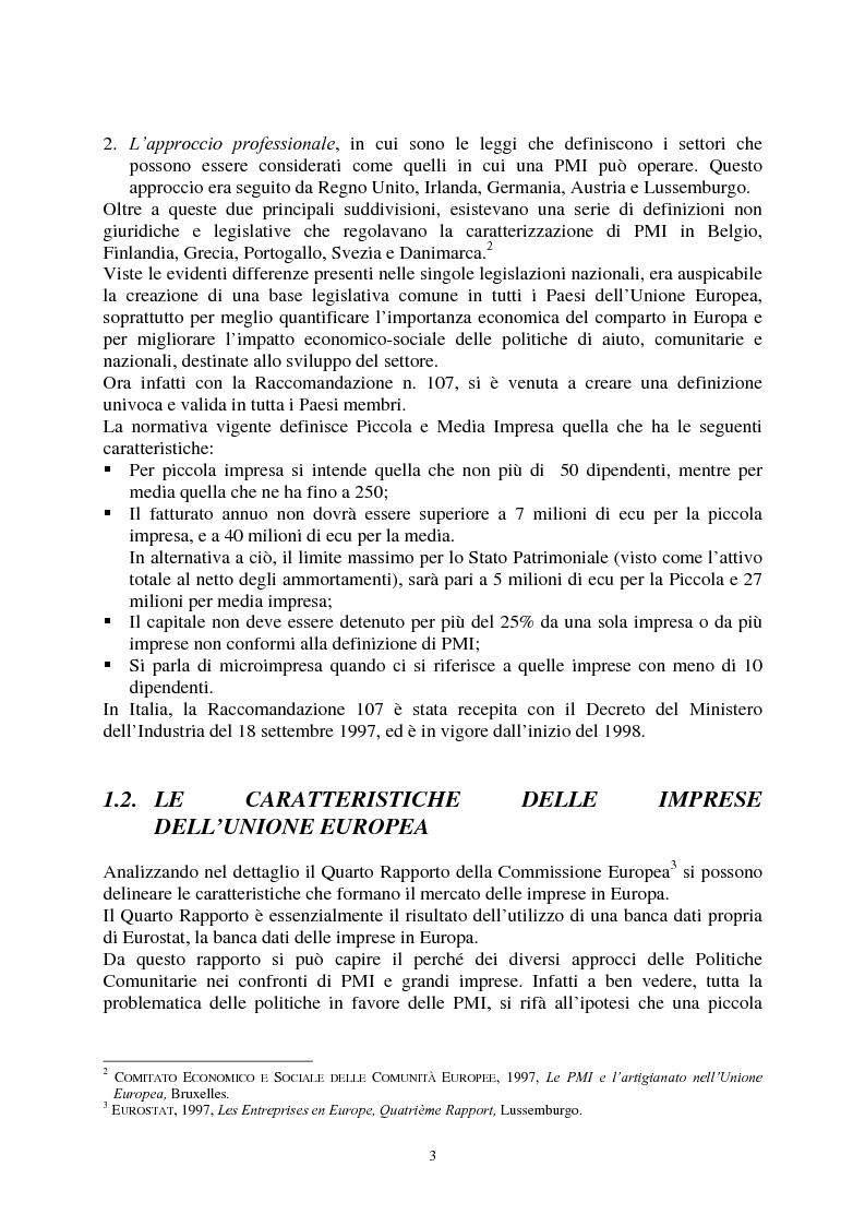 Anteprima della tesi: Le agevolazioni comunitarie alle piccole e medie imprese. Analisi dei risultati dell'applicazione della legge 488/92 in Italia e nel Veneto, Pagina 3