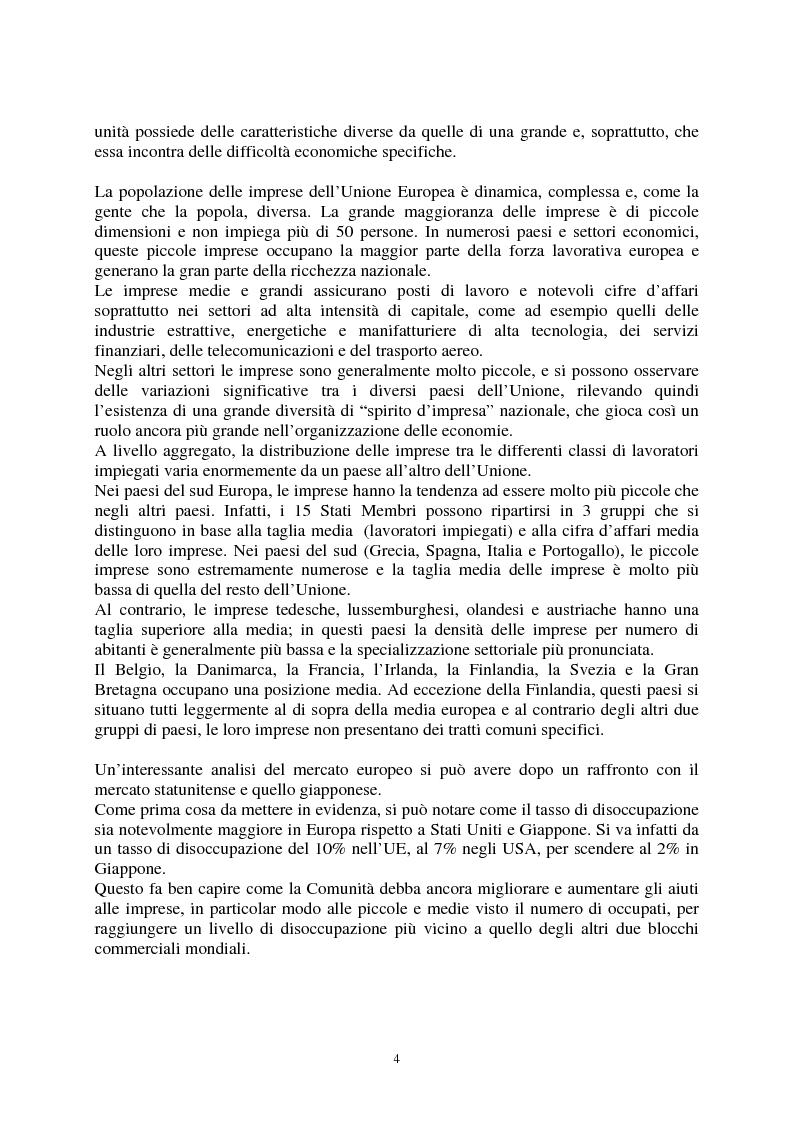 Anteprima della tesi: Le agevolazioni comunitarie alle piccole e medie imprese. Analisi dei risultati dell'applicazione della legge 488/92 in Italia e nel Veneto, Pagina 4