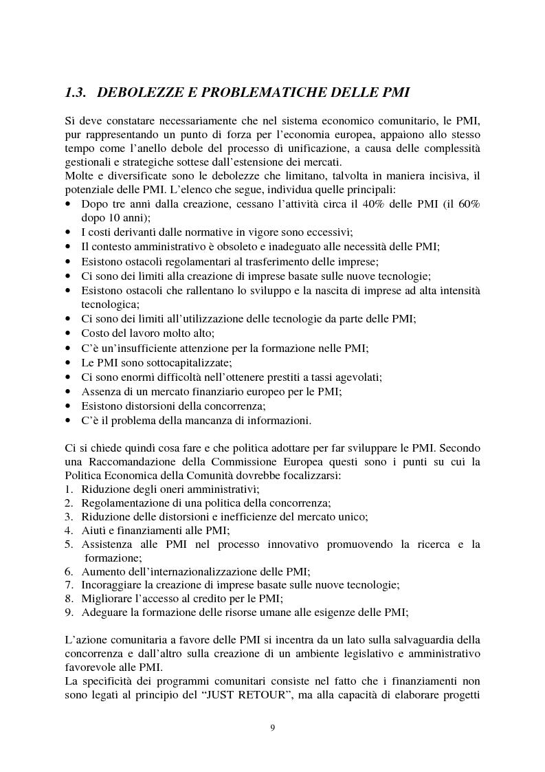 Anteprima della tesi: Le agevolazioni comunitarie alle piccole e medie imprese. Analisi dei risultati dell'applicazione della legge 488/92 in Italia e nel Veneto, Pagina 9