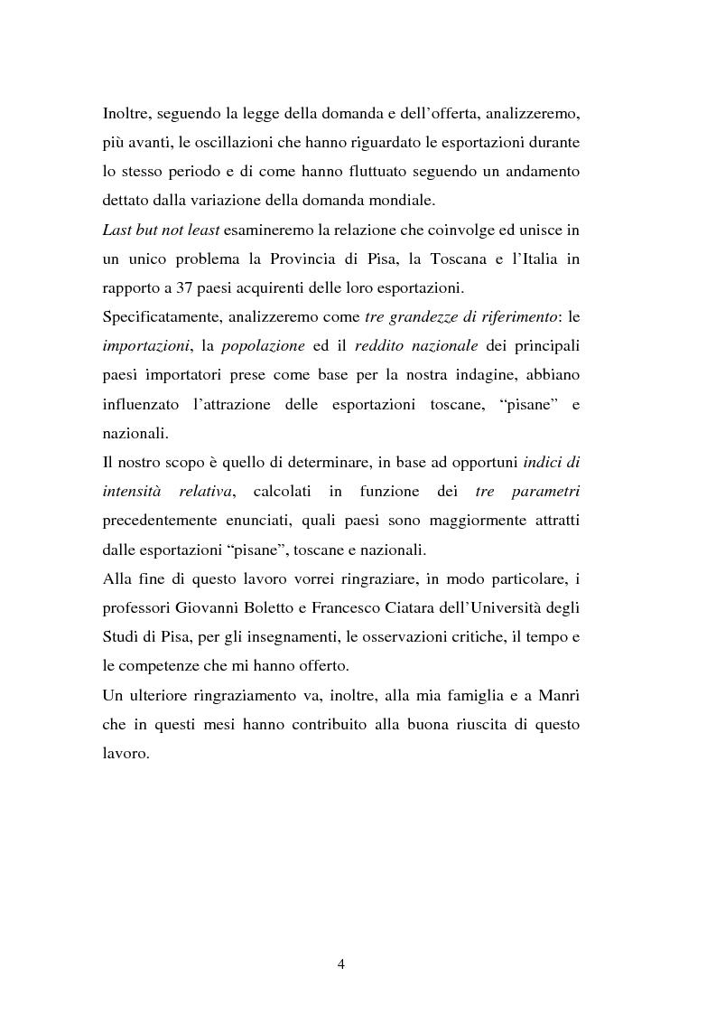 Anteprima della tesi: I flussi del traffico estero della Toscana e della Provincia di Pisa nel quadro nazionale durante gli anni Novanta: in riferimento ad alcuni parametri dei paesi acquirenti, Pagina 4