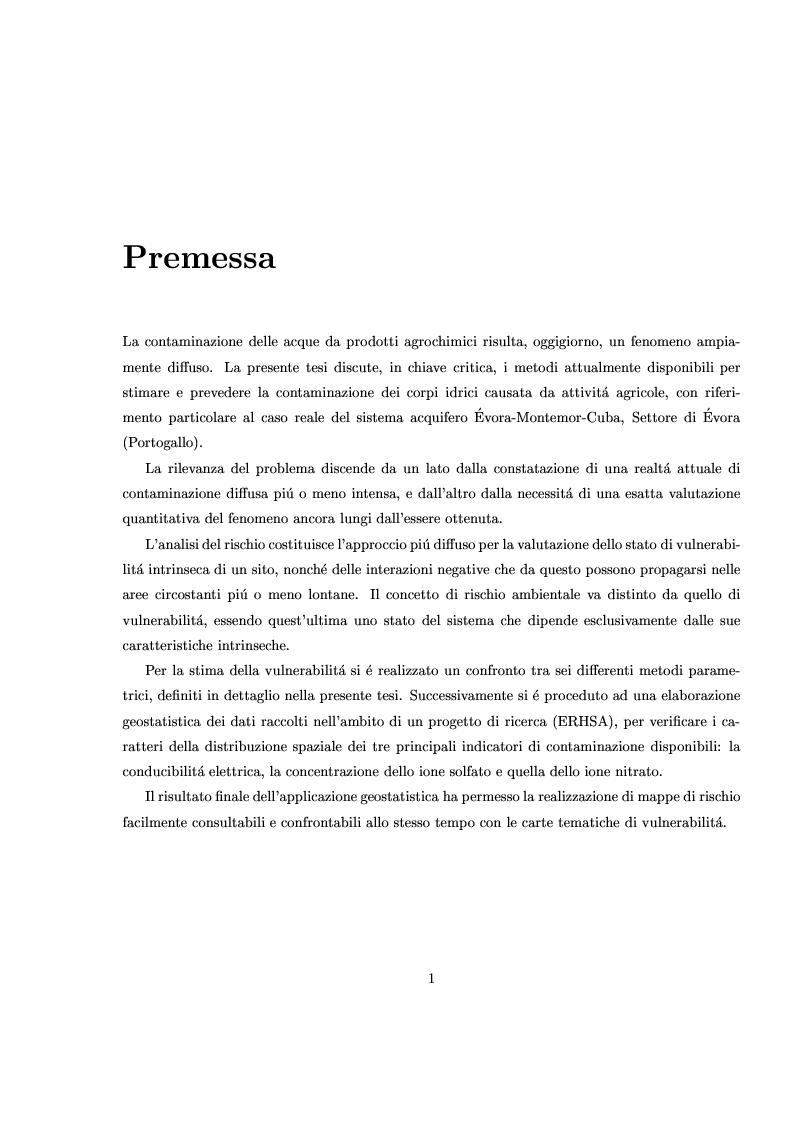 Anteprima della tesi: Caratterizzazione stocastica del sistema acquifero Évora-Montemor-Cuba, settore di Évora, Pagina 1