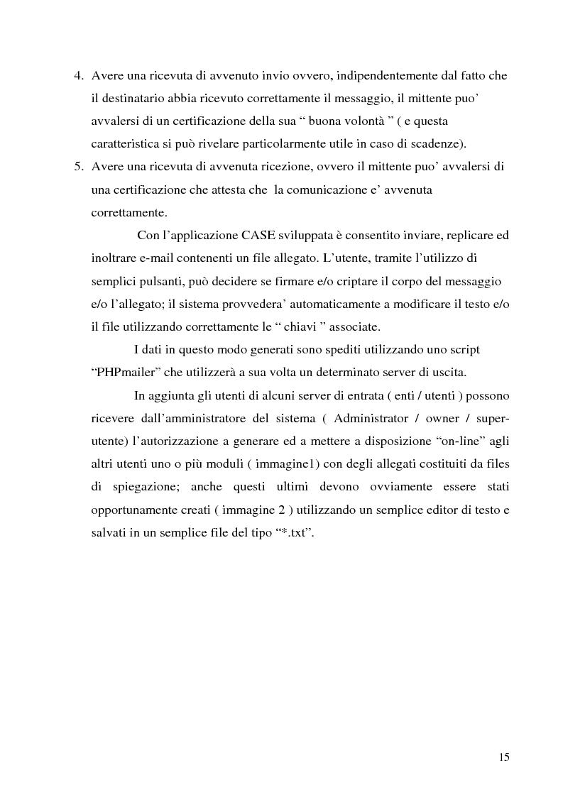 Anteprima della tesi: Sistema di posta elettronica certificato per l'invio e la ricezione di documenti e moduli Certified And Secured E-Governance (C.A.S.E.), Pagina 12