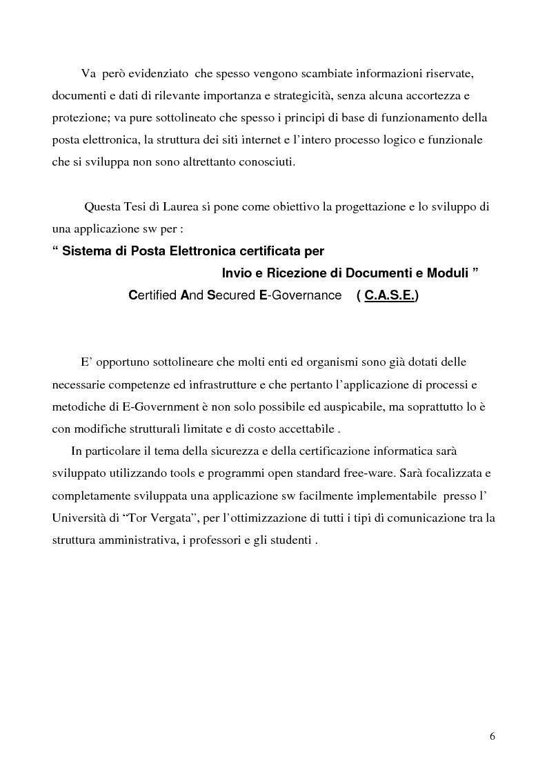 Anteprima della tesi: Sistema di posta elettronica certificato per l'invio e la ricezione di documenti e moduli Certified And Secured E-Governance (C.A.S.E.), Pagina 3