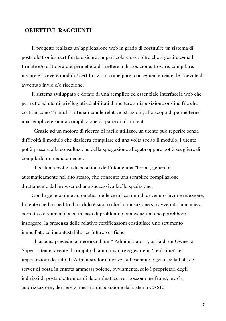 Anteprima della tesi: Sistema di posta elettronica certificato per l'invio e la ricezione di documenti e moduli Certified And Secured E-Governance (C.A.S.E.), Pagina 4