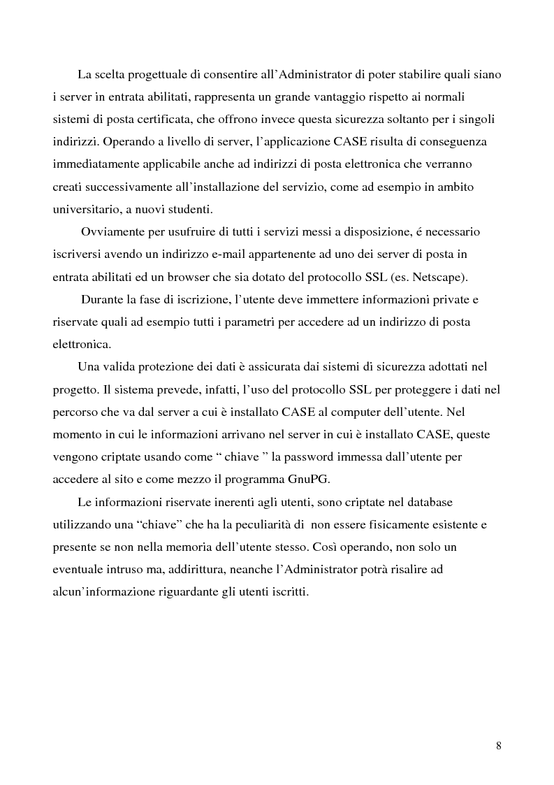 Anteprima della tesi: Sistema di posta elettronica certificato per l'invio e la ricezione di documenti e moduli Certified And Secured E-Governance (C.A.S.E.), Pagina 5