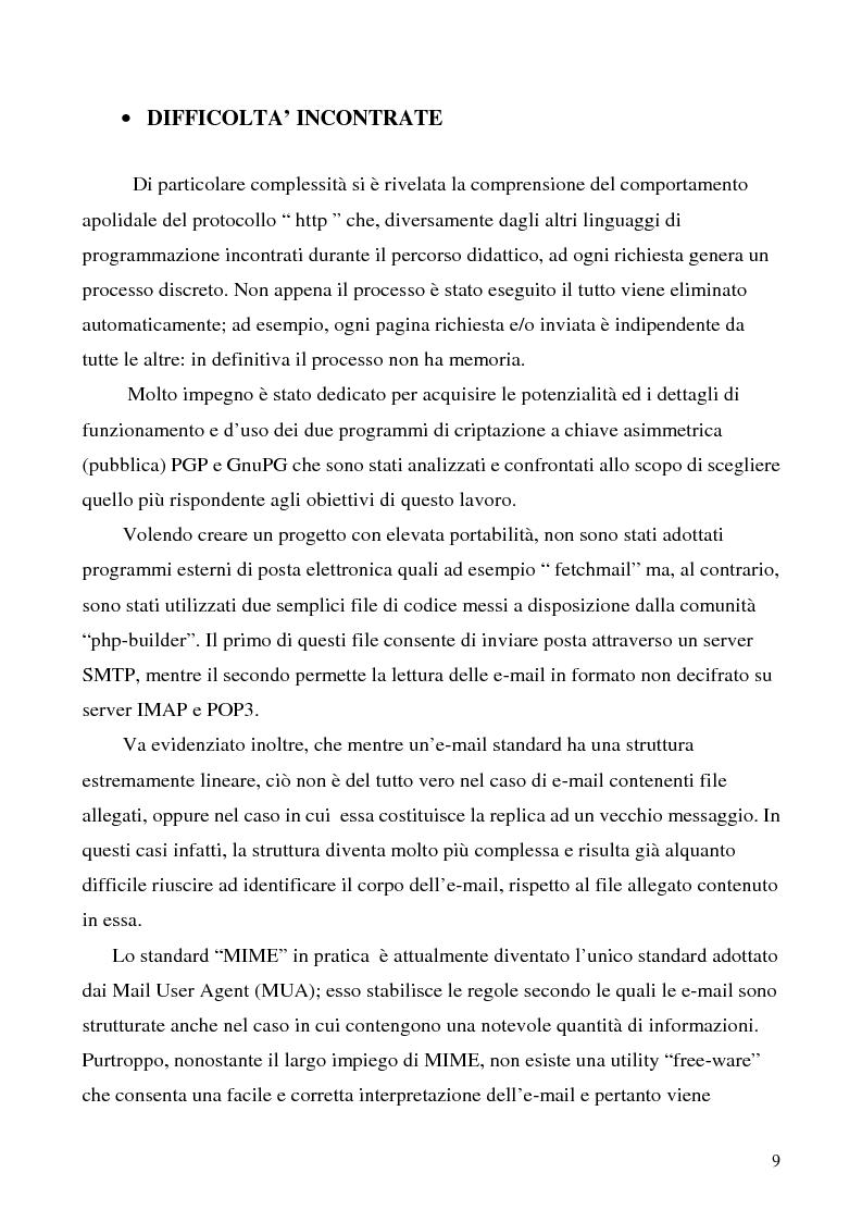 Anteprima della tesi: Sistema di posta elettronica certificato per l'invio e la ricezione di documenti e moduli Certified And Secured E-Governance (C.A.S.E.), Pagina 6