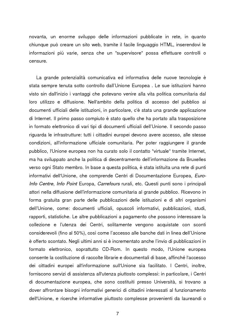 Anteprima della tesi: I servizi di assistenza agli utenti per l'accesso alla documentazione comunitaria europea, Pagina 3