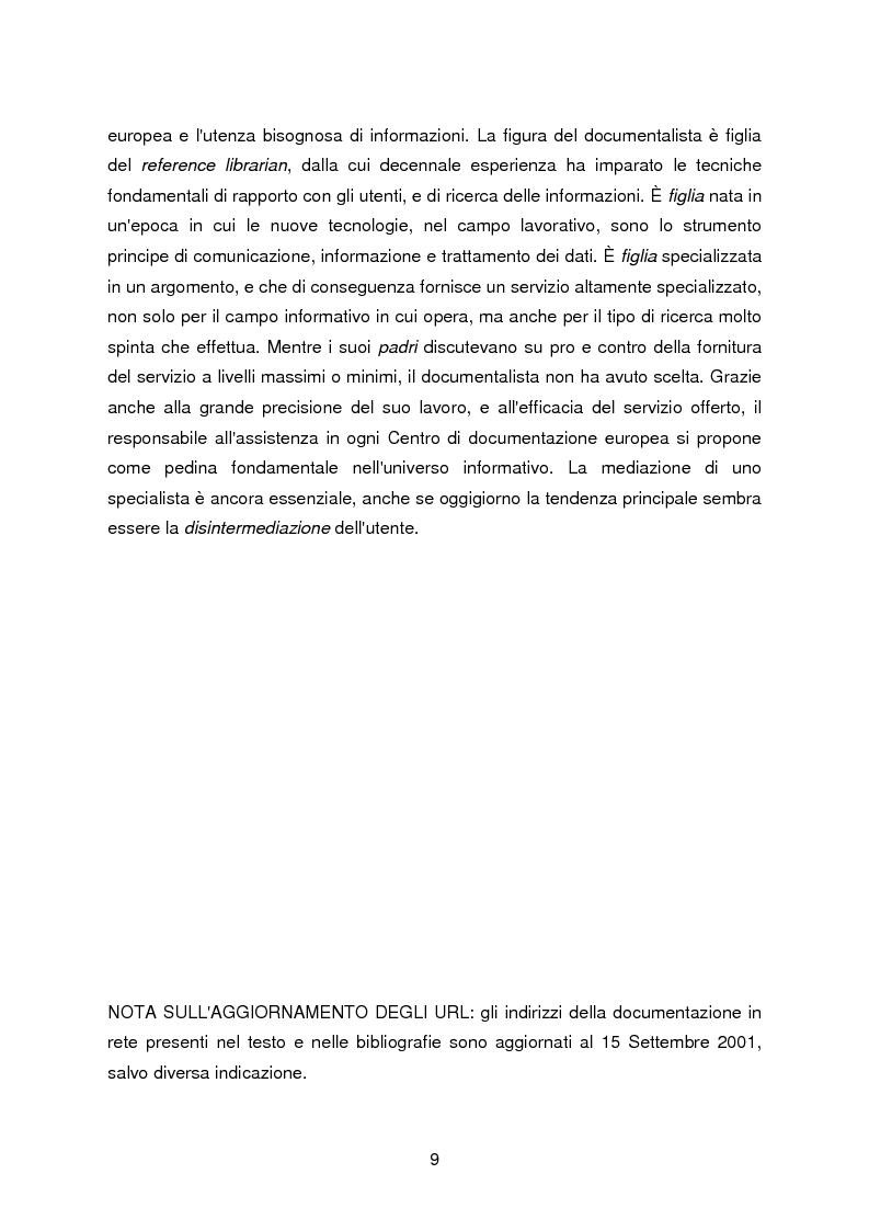Anteprima della tesi: I servizi di assistenza agli utenti per l'accesso alla documentazione comunitaria europea, Pagina 5