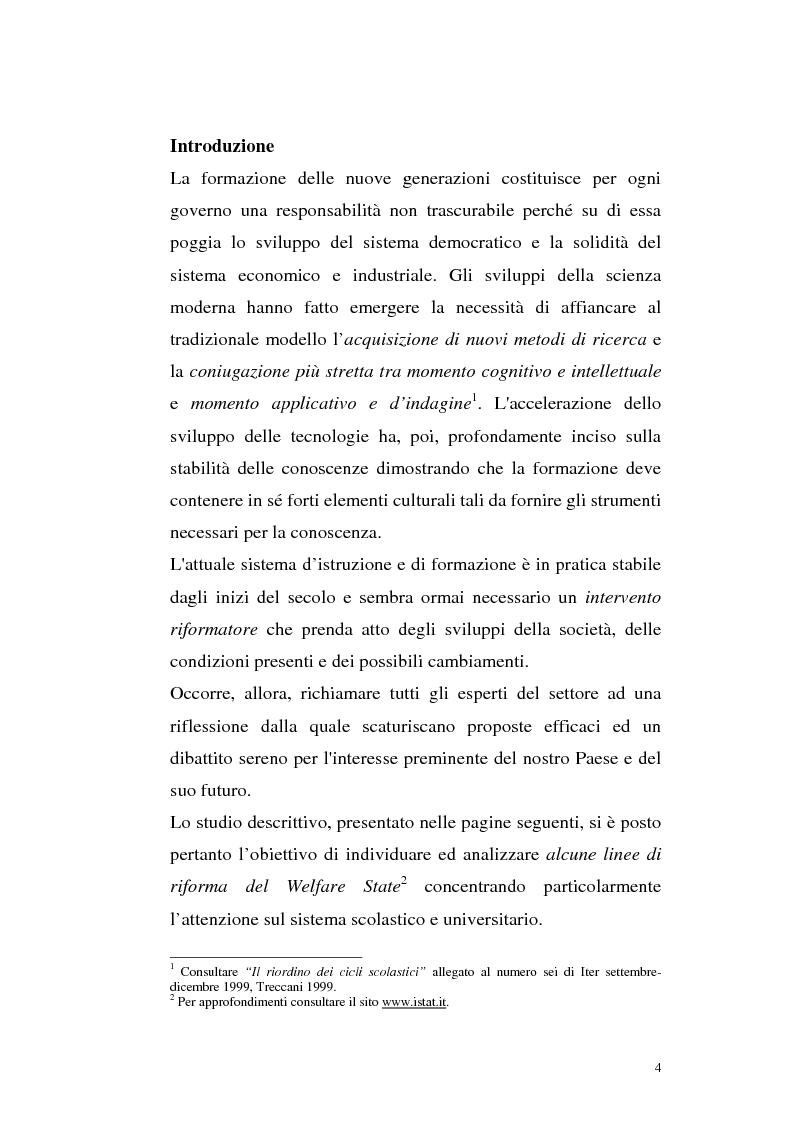 Anteprima della tesi: Alcune linee di riforma del Welfare State: il sistema scolastico e universitario, Pagina 1