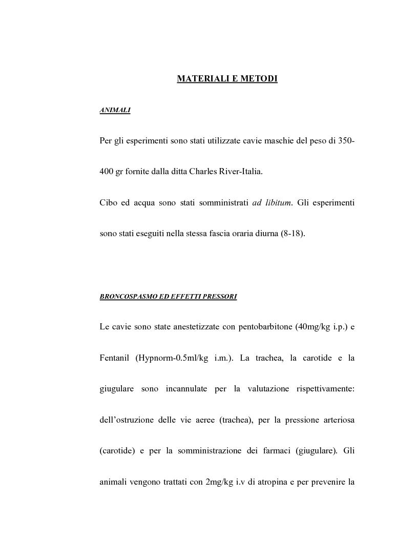 Anteprima della tesi: Controllo dell'attività bronchiale da parte dei cannabinoidi endogeni, Pagina 12