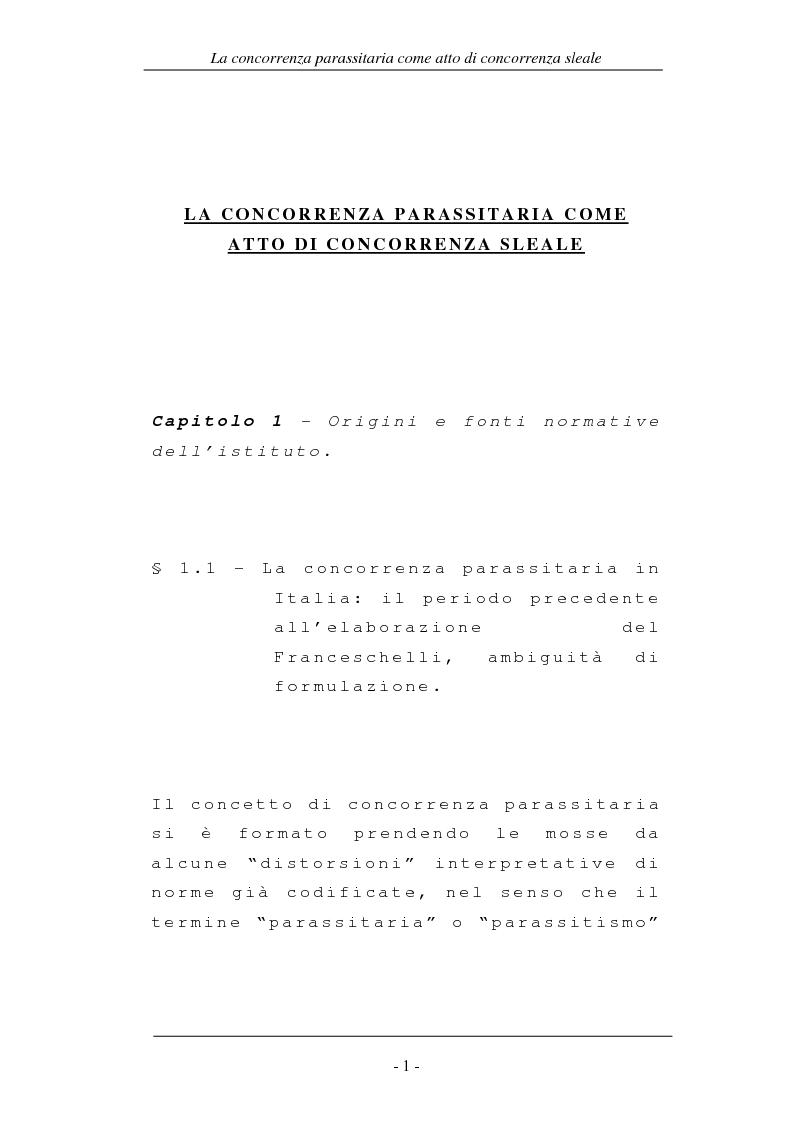 Anteprima della tesi: La concorrenza parassitaria come atto di concorrenza sleale, Pagina 1