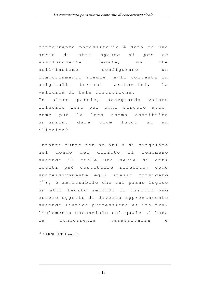 Anteprima della tesi: La concorrenza parassitaria come atto di concorrenza sleale, Pagina 13