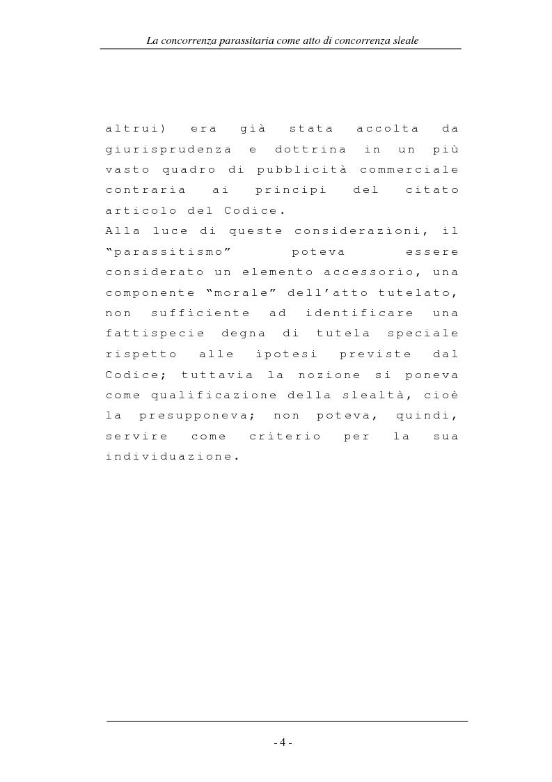 Anteprima della tesi: La concorrenza parassitaria come atto di concorrenza sleale, Pagina 4