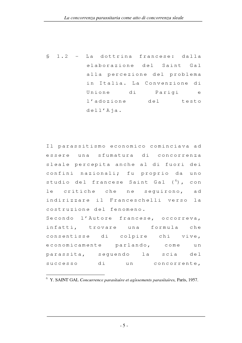 Anteprima della tesi: La concorrenza parassitaria come atto di concorrenza sleale, Pagina 5