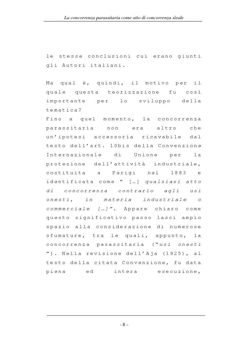 Anteprima della tesi: La concorrenza parassitaria come atto di concorrenza sleale, Pagina 8