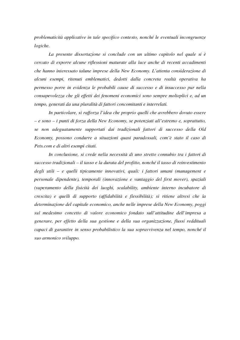 Anteprima della tesi: Il valore nella new economy. Un'analisi critica per la determinazione del capitale economico, Pagina 3