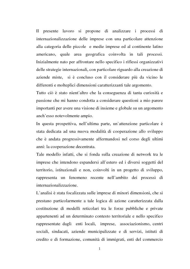 Anteprima della tesi: Processi di internazionalizzazione delle piccole e medie imprese e nuove forme di cooperazione allo sviluppo: un'esperienza di cooperazione con Cuba, Pagina 1