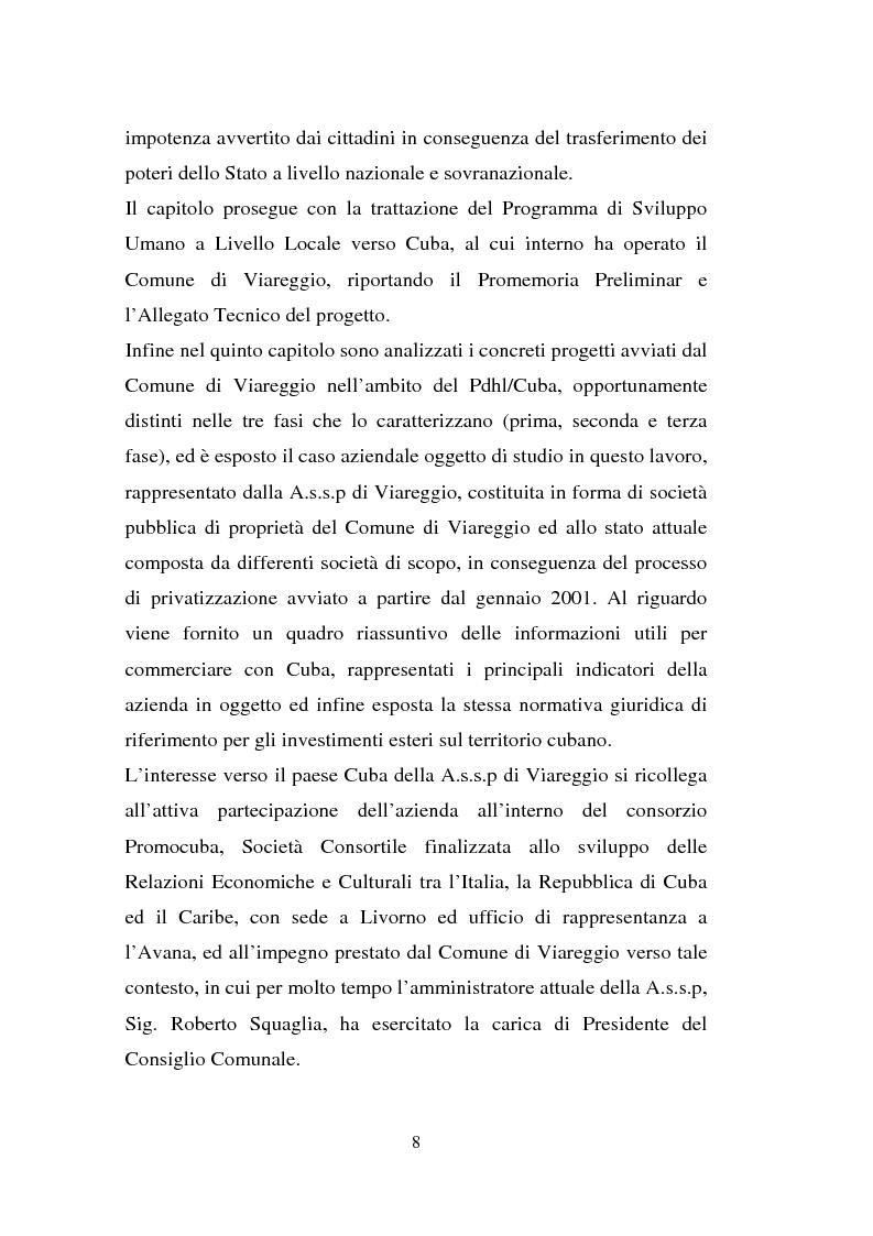 Anteprima della tesi: Processi di internazionalizzazione delle piccole e medie imprese e nuove forme di cooperazione allo sviluppo: un'esperienza di cooperazione con Cuba, Pagina 8