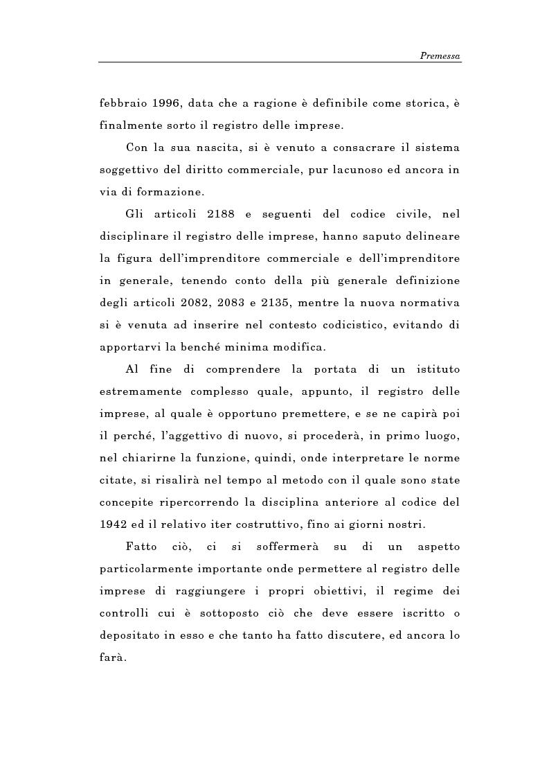 Anteprima della tesi: Il Registro delle Imprese ed, in particolare, il regime dei controlli; l'esperienza dell'ufficio del registro delle imprese di Torino, Pagina 2