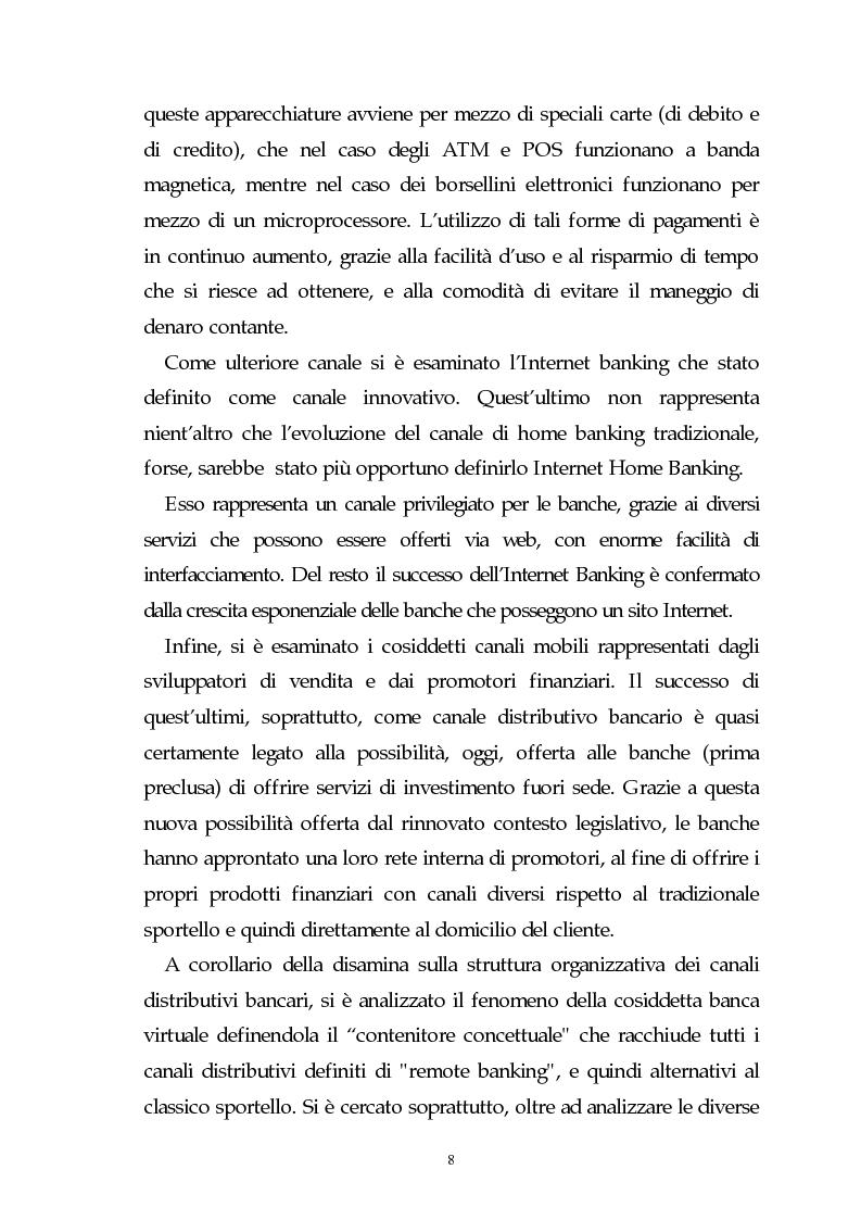 Anteprima della tesi: Evoluzione dell'attività bancaria e riflessi sulla struttura e organizzazione dei canali distributivi, Pagina 8