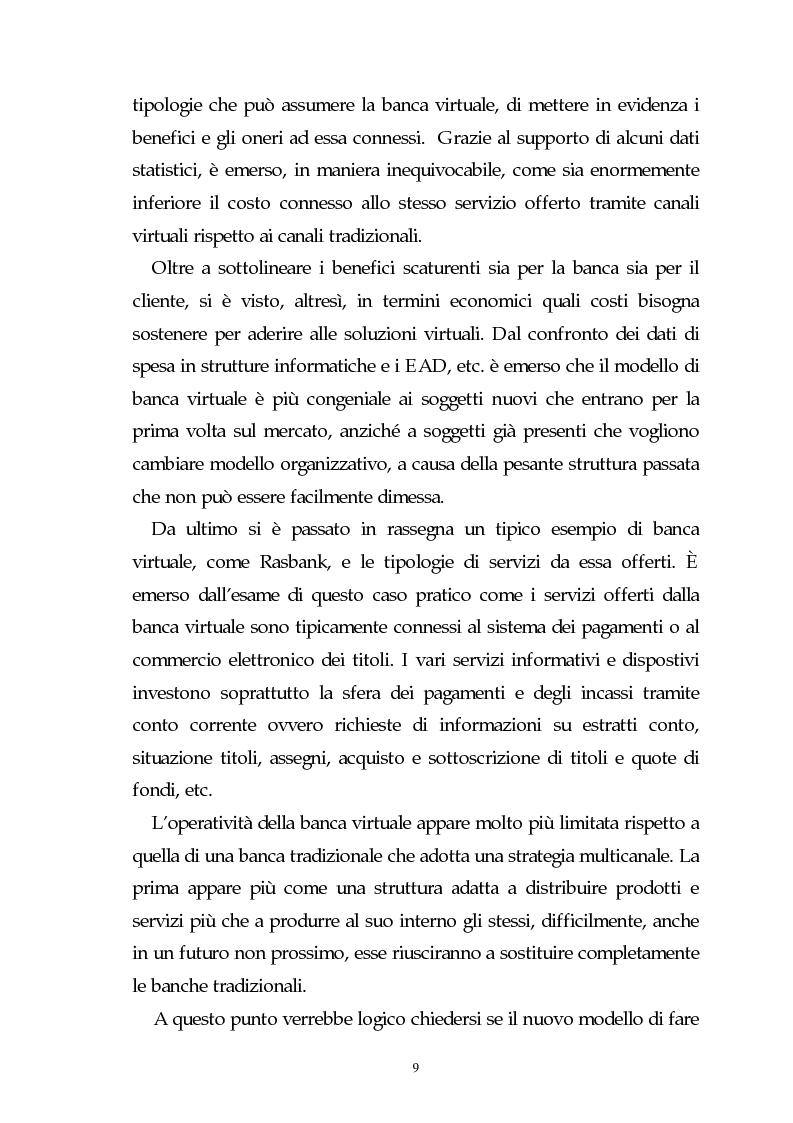 Anteprima della tesi: Evoluzione dell'attività bancaria e riflessi sulla struttura e organizzazione dei canali distributivi, Pagina 9
