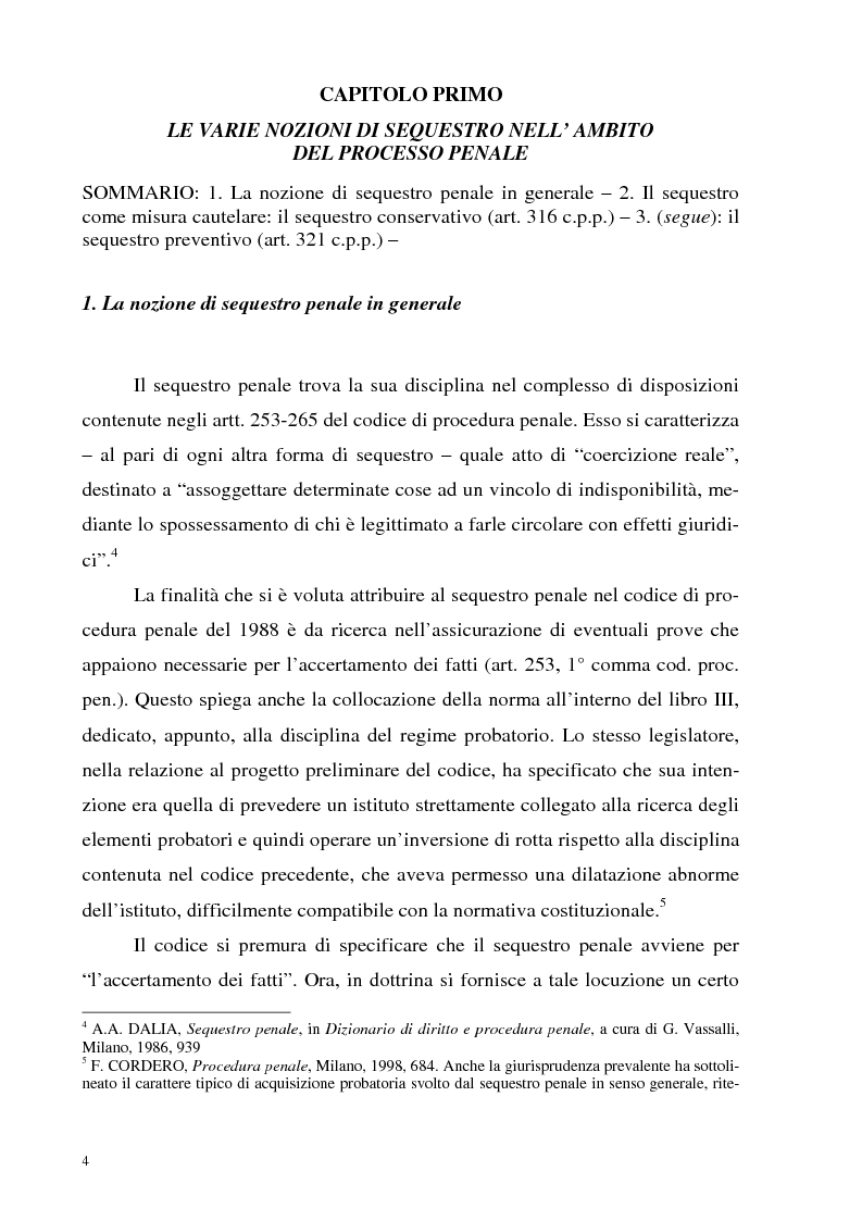 Anteprima della tesi: Il sequestro, Pagina 4
