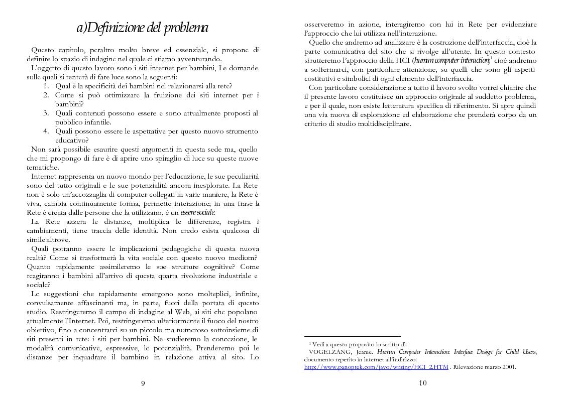 Anteprima della tesi: The Kid Factor, usabilità ed ergonomia dei siti internet per bambini, Pagina 5
