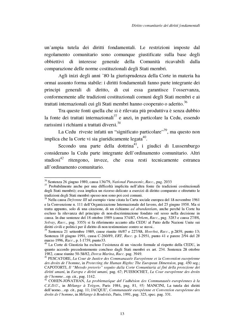 Anteprima della tesi: I diritti fondamentali nel processo comunitario, Pagina 13
