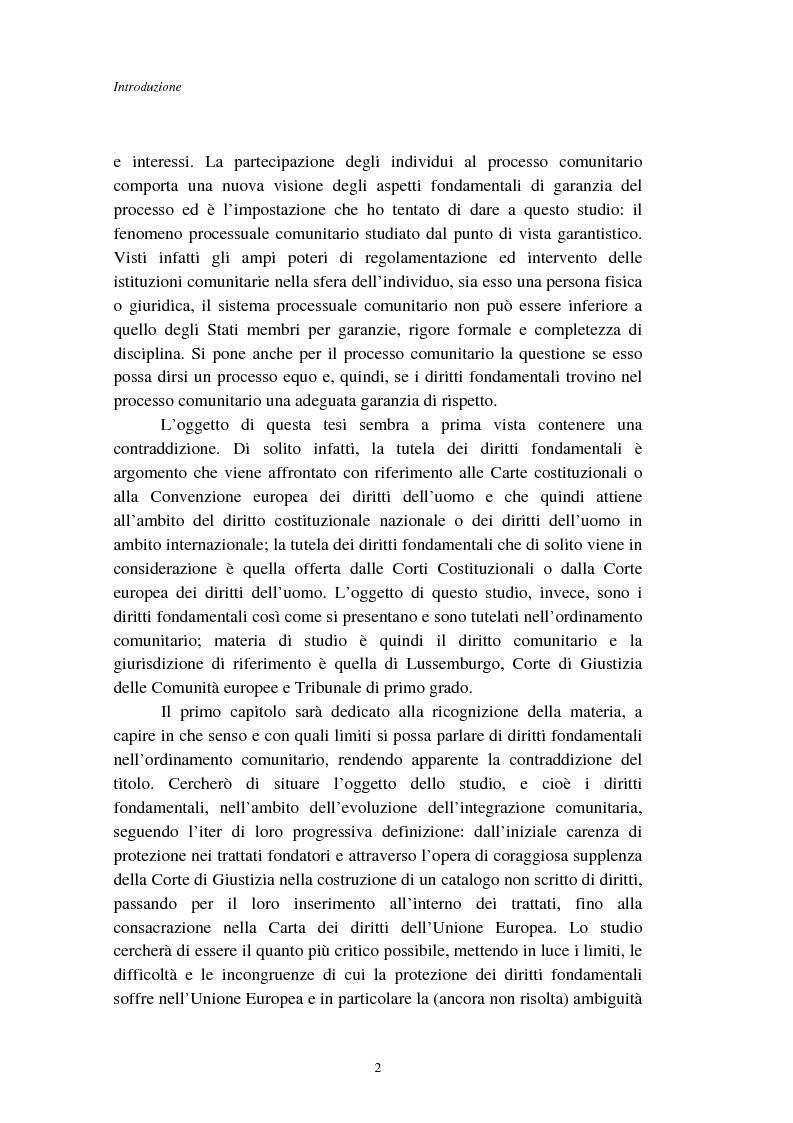 Anteprima della tesi: I diritti fondamentali nel processo comunitario, Pagina 2