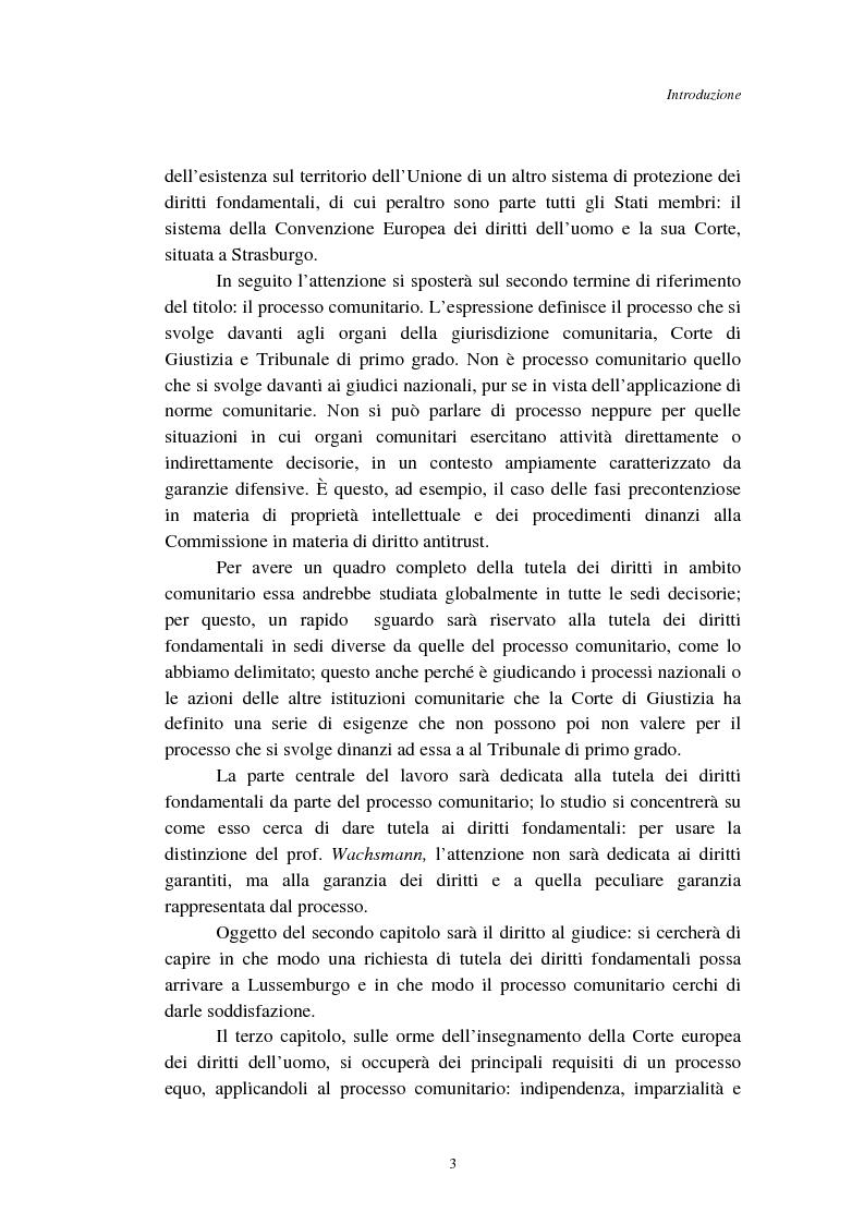 Anteprima della tesi: I diritti fondamentali nel processo comunitario, Pagina 3