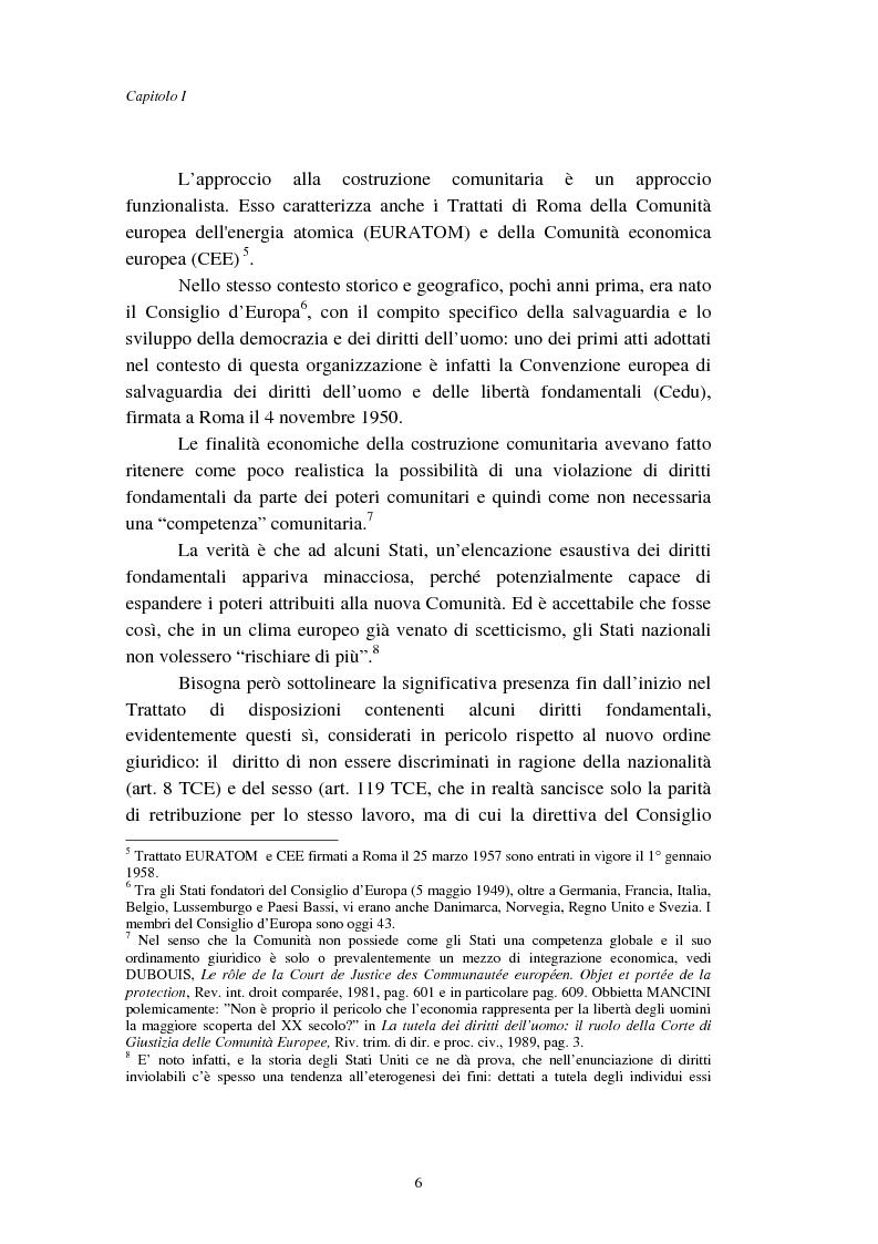 Anteprima della tesi: I diritti fondamentali nel processo comunitario, Pagina 6