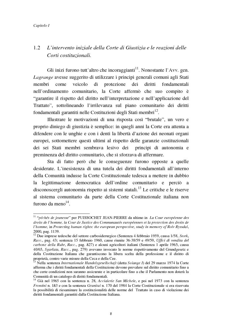 Anteprima della tesi: I diritti fondamentali nel processo comunitario, Pagina 8