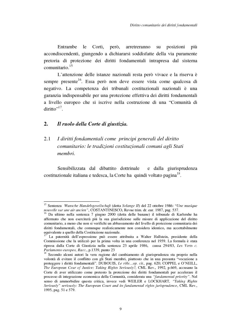 Anteprima della tesi: I diritti fondamentali nel processo comunitario, Pagina 9