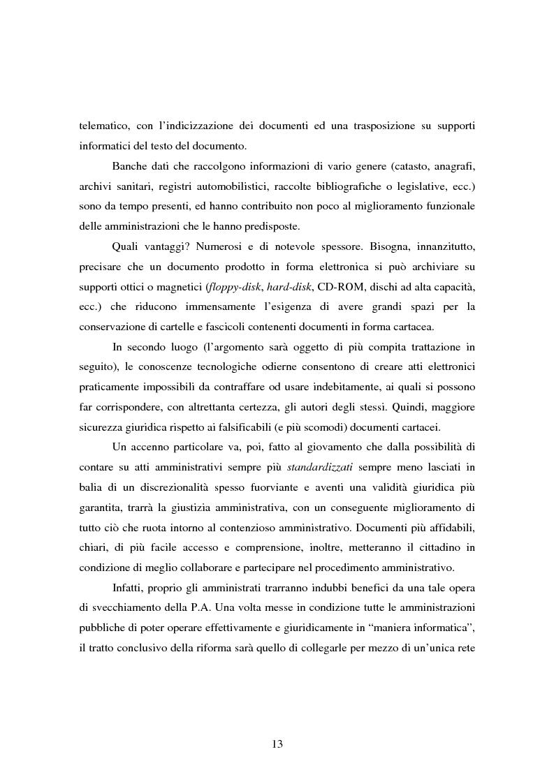 Anteprima della tesi: L'informatizzazione della Pubblica Amministrazione. Aspetti giuridici delle innovazioni tecnologiche nell'azione amministrativa, Pagina 10