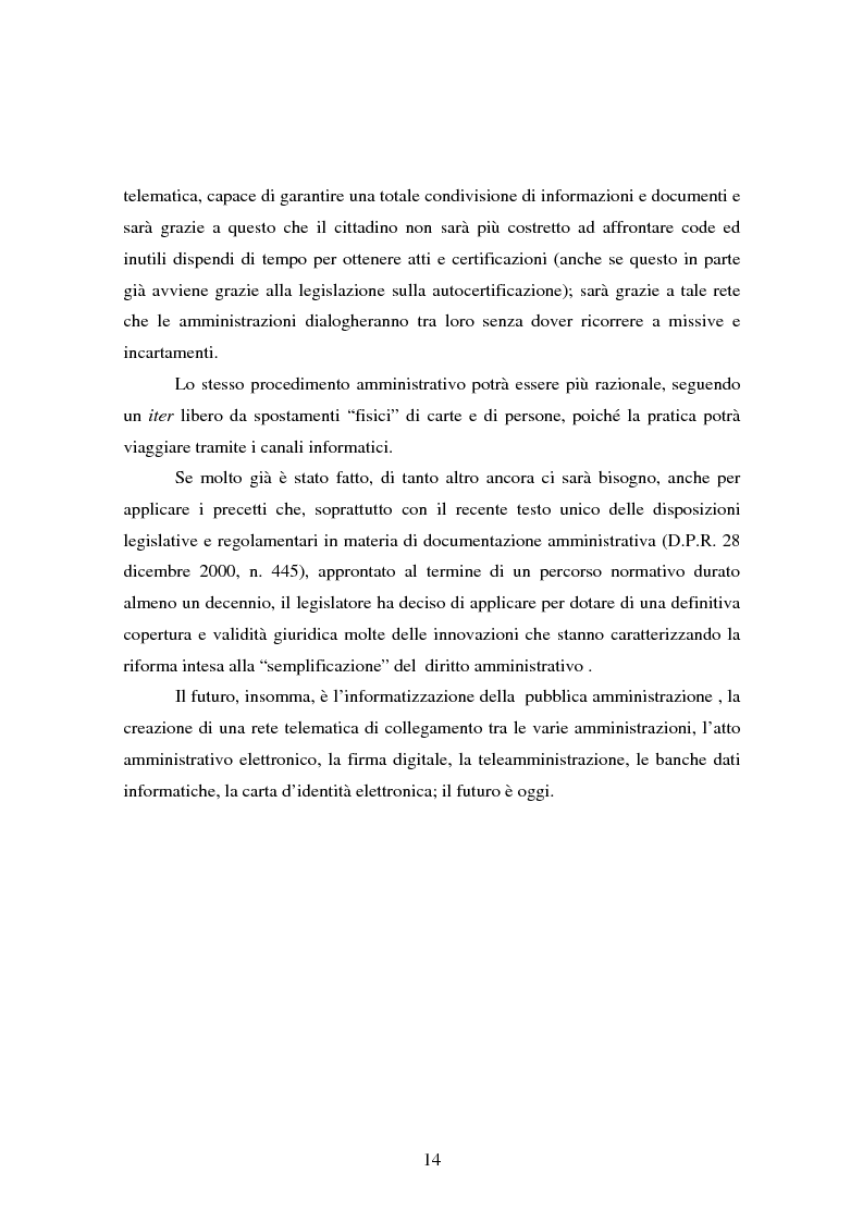 Anteprima della tesi: L'informatizzazione della Pubblica Amministrazione. Aspetti giuridici delle innovazioni tecnologiche nell'azione amministrativa, Pagina 11